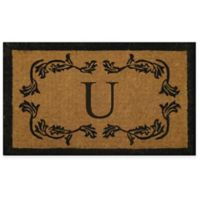 "Nature by Geo Crafts Leaf Bordered 24-Inch x 39-Inch Letter ""U"" Door Mat in Natural Black"