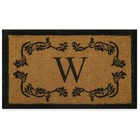 "Nature by Geo Crafts Leaf Bordered 24-Inch x 39-Inch Letter ""W"" Door Mat in Natural Black"