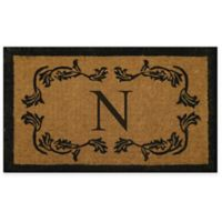 """Nature by Geo Crafts Leaf Bordered 30-Inch x 48-Inch Letter """"N"""" Door Mat in Natural Black"""