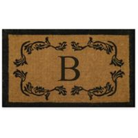 """Nature by Geo Crafts Leaf Bordered 30-Inch x 48-Inch Letter """"B"""" Door Mat in Natural Black"""
