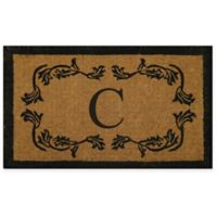"""Nature by Geo Crafts Leaf Bordered 30-Inch x 48-Inch Letter """"C"""" Door Mat in Natural Black"""