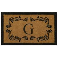 """Nature by Geo Crafts Leaf Bordered 30-Inch x 48-Inch Letter """"G"""" Door Mat in Natural Black"""