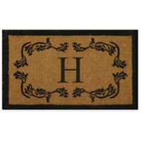 """Nature by Geo Crafts Leaf Bordered 30-Inch x 48-Inch Letter """"H"""" Door Mat in Natural Black"""