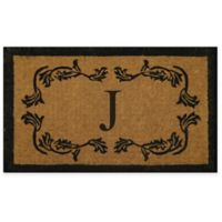 """Nature by Geo Crafts Leaf Bordered 30-Inch x 48-Inch Letter """"J"""" Door Mat in Natural Black"""