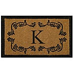 "Nature by Geo Crafts Leaf Bordered 30-Inch x 48-Inch Letter ""K"" Door Mat in Natural Black"