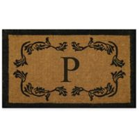 """Nature by Geo Crafts Leaf Bordered 30-Inch x 48-Inch Letter """"P"""" Door Mat in Natural Black"""