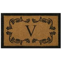 """Nature by Geo Crafts Leaf Bordered 30-Inch x 48-Inch Letter """"V"""" Door Mat in Natural Black"""