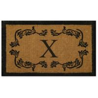 """Nature by Geo Crafts Leaf Bordered 30-Inch x 48-Inch Letter """"X"""" Door Mat in Natural Black"""