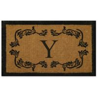 """Nature by Geo Crafts Leaf Bordered 30-Inch x 48-Inch Letter """"Y"""" Door Mat in Natural Black"""