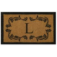 """Nature by Geo Crafts Leaf Bordered 30-Inch x 48-Inch Letter """"L"""" Door Mat in Natural Black"""