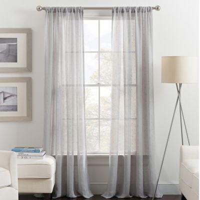 Destiny 84 Inch Rod Pocket Sheer Window Curtain Panel In Grey