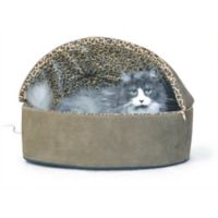 Large Thermo-Kitty Hooded Pet Bed in Mocha Leopard
