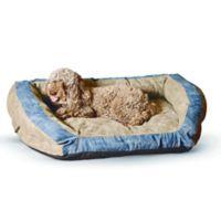 K&H Premium 28-Inch x 40-Inch Logo Bolster Pet Bed in Brown