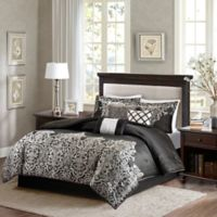 Madison Park Vanessa 7-Piece Queen Comforter Set in Black