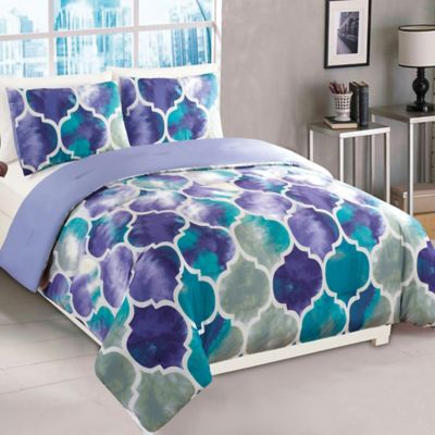 Emmi 2 Piece Twin Comforter Set In Purple/Teal