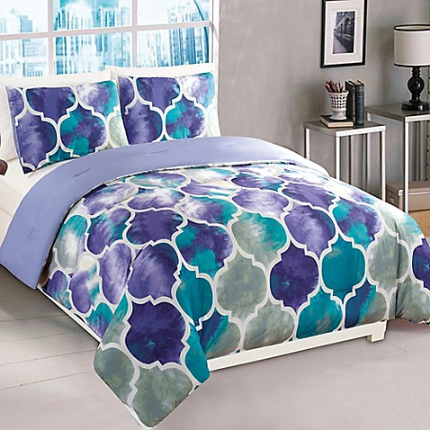 emmi comforter set in purple teal bed bath beyond. Black Bedroom Furniture Sets. Home Design Ideas