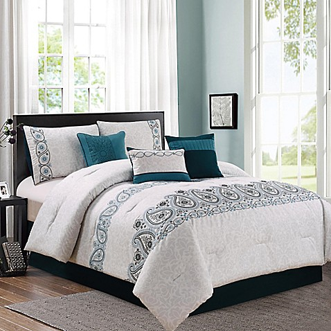 Margo 7 piece comforter set in teal grey bed bath beyond Teal bedding sets