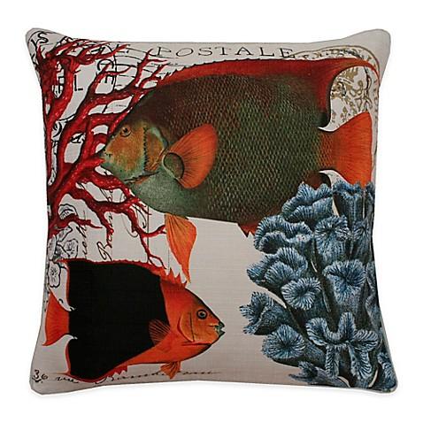 Thro french coastal fish square throw pillow in orange for Fish throw pillows