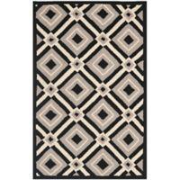 Safavieh Four Seasons Diamonds 2-Foot x 3-Foot Indoor/Outdoor Accent Rug in Black/Grey