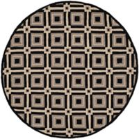 Safavieh Four Seasons Diamonds 4-Foot Round Indoor/Outdoor Area Rug in Black/Grey