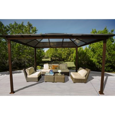 STC Aspen 10 Foot X 13 Foot Backyard Gazebo In Bronze/Brown
