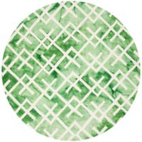 Safavieh Dip Dye Angles 7-Foot Round Area Rug in Green/Ivory