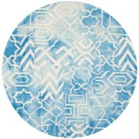 Safavieh Dip Dye Patterns7-Foot Round Area Rug in Blue/Ivory