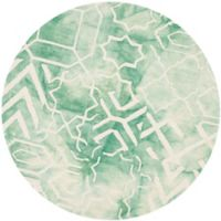 Safavieh Dip Dye Patterns 5-Foot Round Area Rug in Green/Ivory