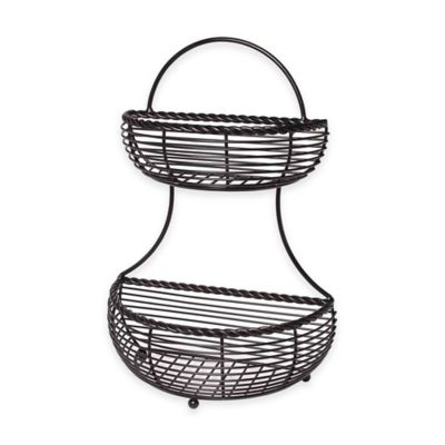 Gourmet Basics By Mikasa Wire Rope 2 Tier Countertop Basket In Black