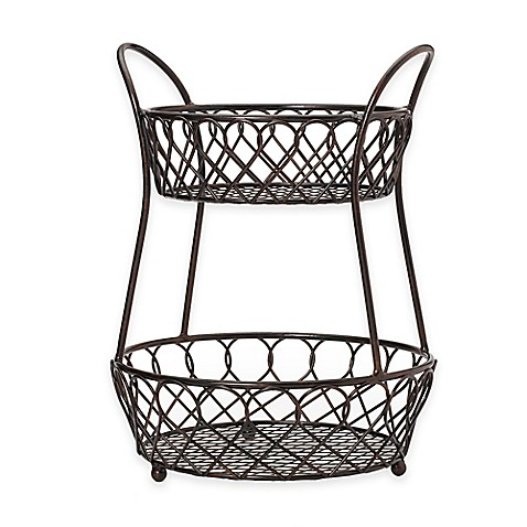 Gourmet basics by mikasa 2 tier lattice countertop basket for Stand de fruits ikea