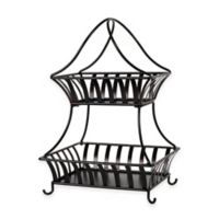 Gourmet Basics by Mikasa® Stripe 2-Tier Countertop Basket in Black