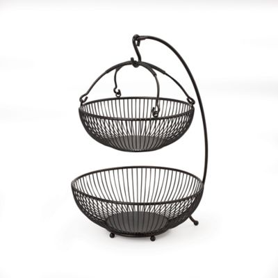 Gourmet Basics By Mikasa Spindle 2 Tier Basket With Banana Hook