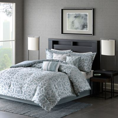 madison park 7piece carlow california king comforter set in blue - Cal King Comforter Sets