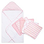 Trend Lab® 6-Piece Chevron Hooded Towel and Washcloth Set in Pink Sky
