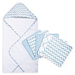 Trend Lab® 6-Piece Chevron Hooded Towel and Washcloth Set in Blue Sky