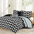 Intelligent Design Nadia Full/Queen Coverlet Set in Grey/Black/White