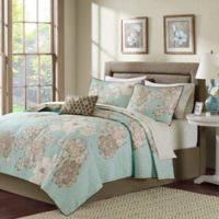Madison Park Avalon Full Coverlet Set in Aqua/Brown
