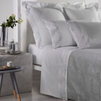 Frette At Home Noto Ricamo King Pillowcase in White/Stone