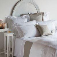 Frette At Home Noto Ricamo European Pillow Shams in White/Stone (Set of 2)