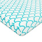TL Care® Heavenly Soft Chenille Pack 'n Play Playard Fitted Sheet in Aqua Sea Wave