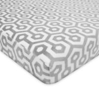 TL Care® Heavenly Soft Chenille Pack 'n Play Playard Fitted Sheet in Grey Honeycomb