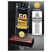 NFL Denver Broncos Super Bowl 50 Ticket & Bronze Coin Acrylic Desktop Holder