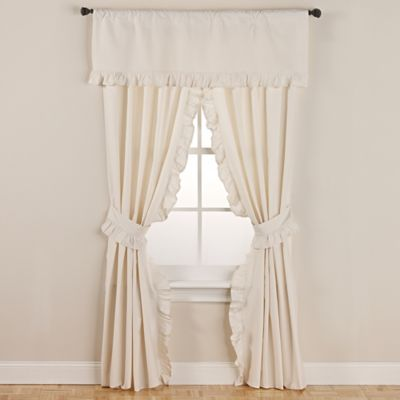 SmoothweaveTM 84 Inch Ruffled Rod Pocket Window Curtain Panels With Tie Backs In Ivory