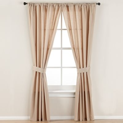SmoothweaveTM 63 Inch Tailored Rod Pocket Window Curtain Panel With Tie Back In Mocha