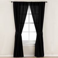 Smoothweave™ 84-Inch Tailored Rod Pocket Window Curtain Panel with Tie Back in Black