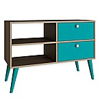 Manhattan Comfort Dalarna TV Stand in Aqua/Oak