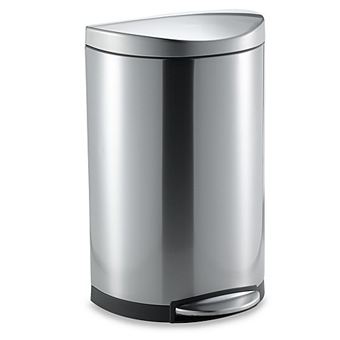 Simplehuman Brushed Stainless Steel Fingerprint Proof 40 Liter Semi Round Step Trash Can Bed