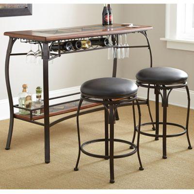 steve silver dakota 3 piece counter height bar set in oak - Kitchen Decor Sets