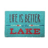 """""""Life Is Better at the Lake"""" 18-Inch x 30-Inch Coir Door Mat"""