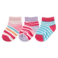 BabyVision® Luvable Friends® Size 12-24M 3-Pack Novelty No-Show Socks in Pink/Red/Blue